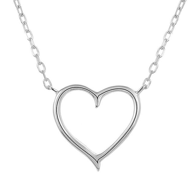 Levně Beneto Stříbrný náhrdelník se srdíčkem AGS288/47