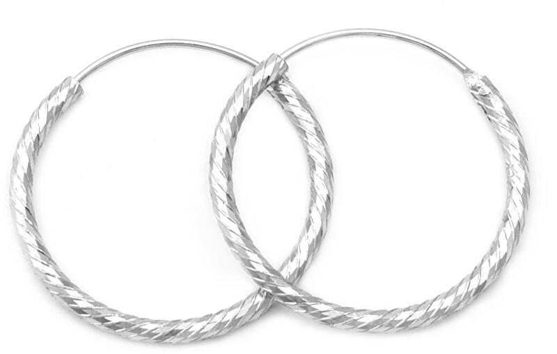 Beneto Úžasné strieborné kruhové náušnice AGUC350 / N 2 cm