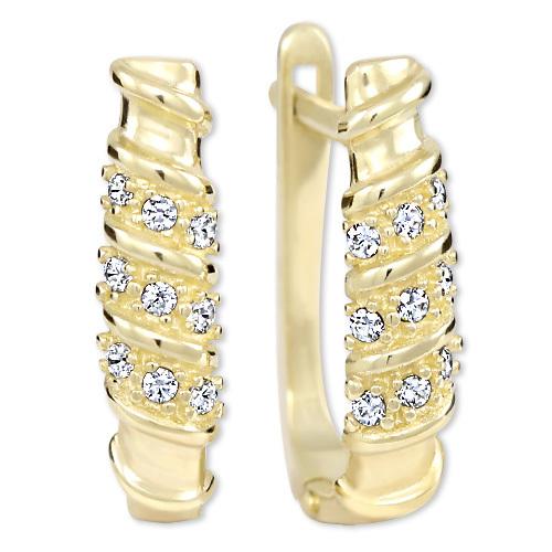 Brilio Dámske zlaté náušnice s kryštálmi 239 001 00980