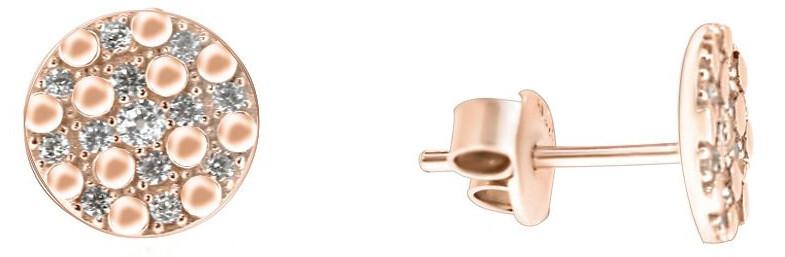 Brilio Jemné náušnice z růžového zlata se zirkony SILVER102_AU_R