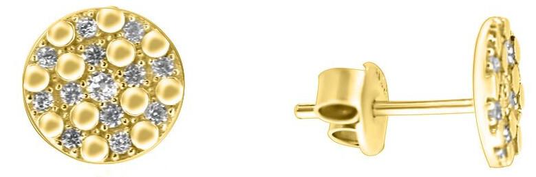 Brilio Jemné náušnice ze žlutého zlata se zirkony SILVER102_AU_Y