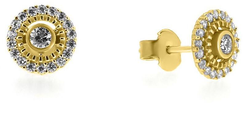 Brilio Krásné náušnice ze žlutého zlata se zirkony SILVER014_AU_Y