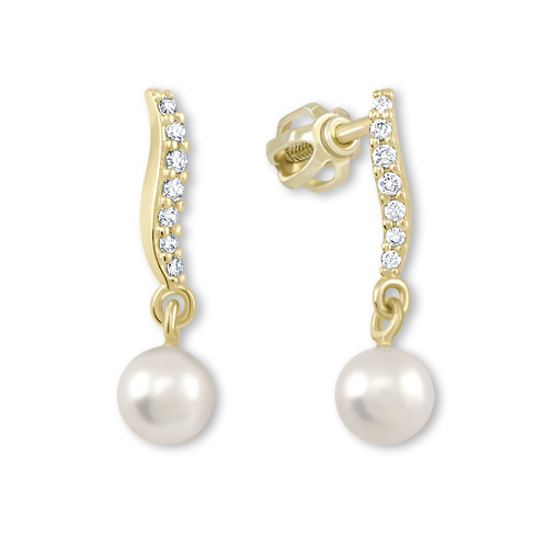 Brilio Náušnice zo žltého zlata s kryštálmi a perlou 235 001 00404