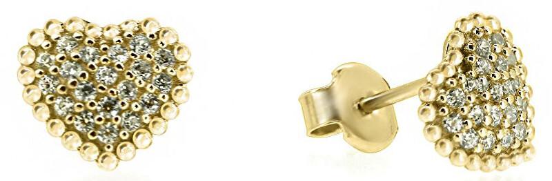 Brilio Něžné náušnice srdíčka ze žlutého zlata se zirkony SILVER007_AU_Y