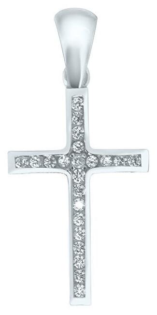 Brilio Přívěsek křížek z bílého zlata CSR024_AU_W