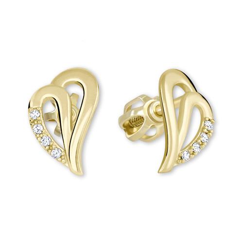 Brilio Zlaté náušnice srdce s kryštálmi 239 001 00738