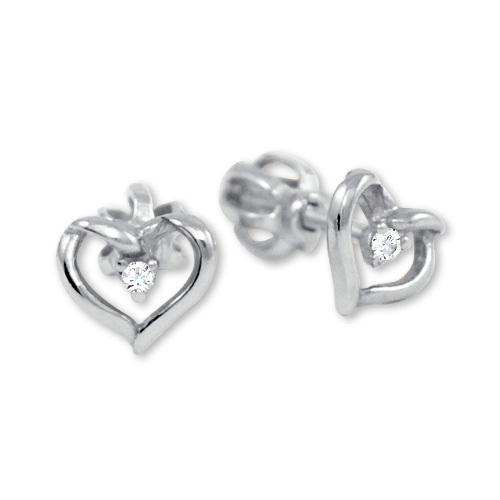 Brilio Zlaté náušnice srdce s kryštálom 236 001 00914 07