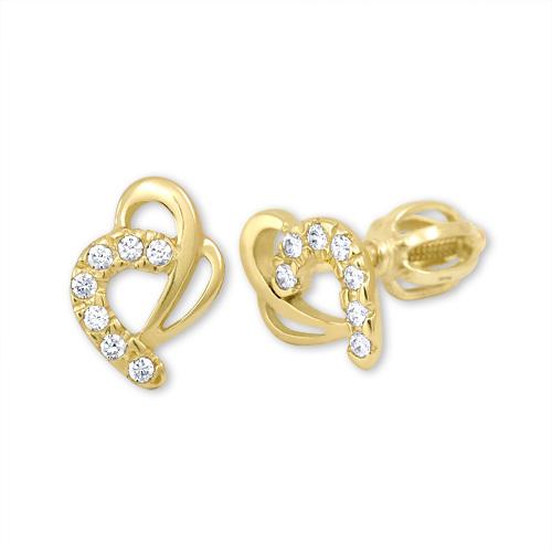 Brilio Zlaté náušnice srdce s kryštálmi 239 001 00583
