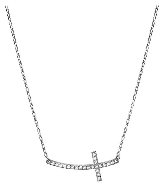 Brilio Zlatý náhrdelník Krížik naležato s kryštálmi 279 001 00079 07