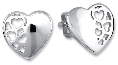 Brilio Silver Strieborné náušnice Srdce 431 001 02802 04
