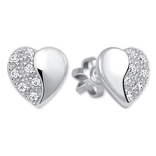 Brilio Silver Strieborné náušnice Srdce 436 001 00432 04