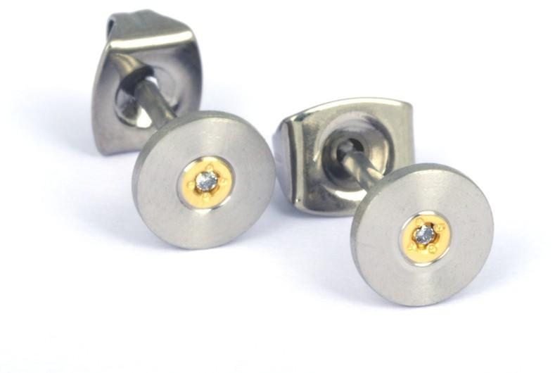 Boccia Titanium Pozlacené titanové náušnice s diamantem 0545-02