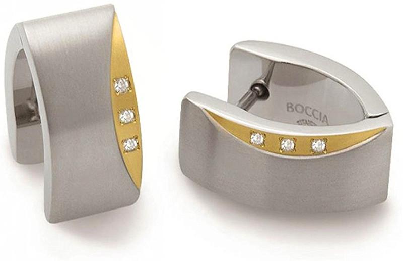 Boccia Titanium Titanové náušnice s pravými diamanty 05002-04