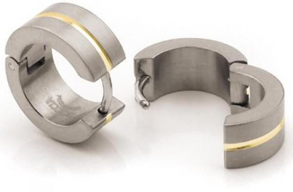 Boccia Titanium Titanové náušnice se zlatým středem 0503-03