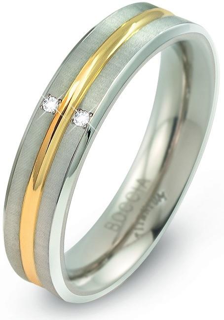 Boccia Titanium Titanový bicolor prsten s brilianty 0144-01 53 mm
