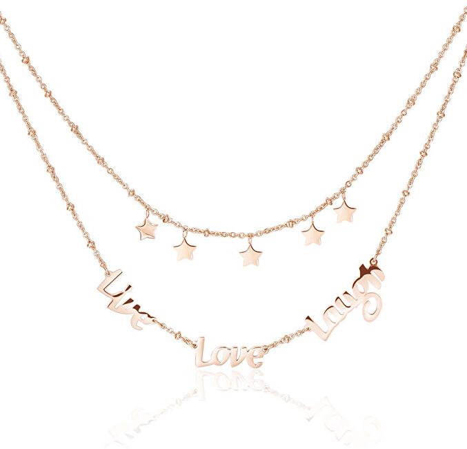 Brosway Oceľový náhrdelník Live Love Laugh Script BRP02