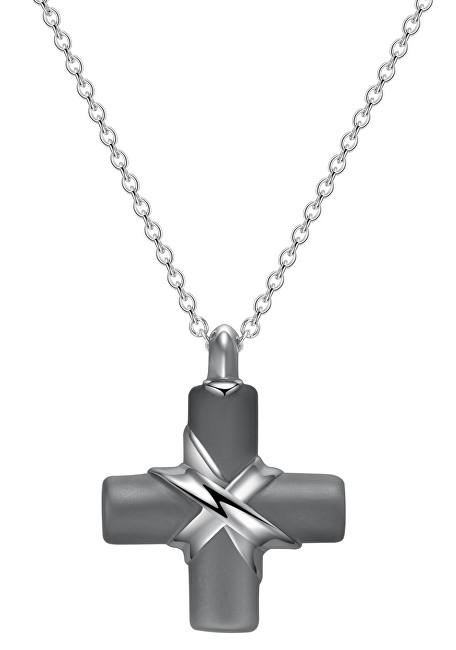 Brosway Pánsky oceľový náhrdelník s krížikom StoneAge BOG01