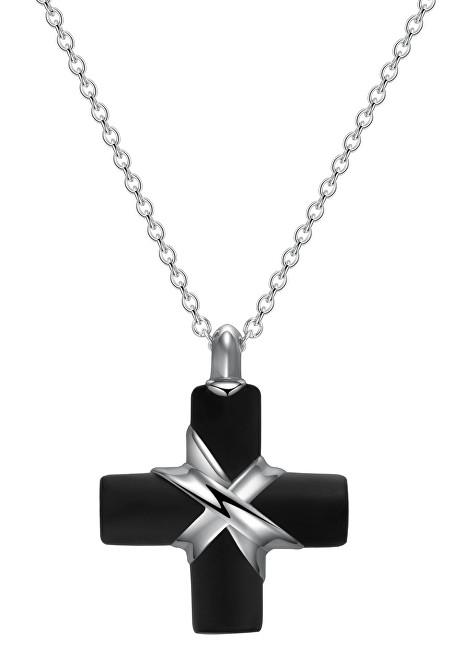 Brosway Pánsky oceľový náhrdelník s krížikom StoneAge BOG02