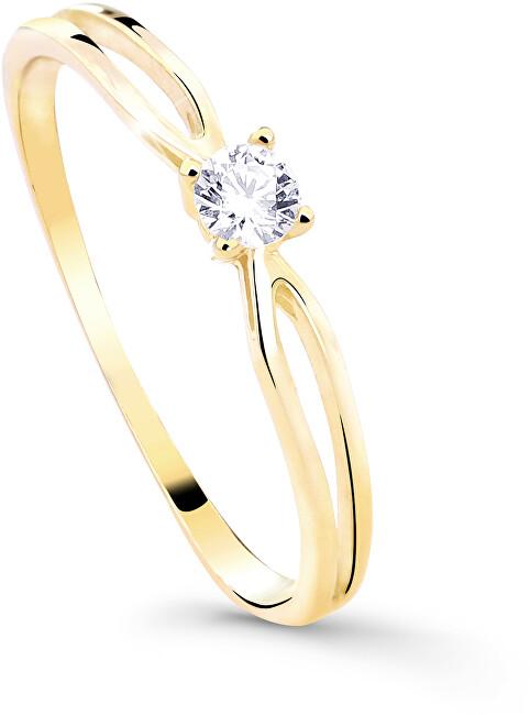 Cutie Diamonds Třpytivý zásnubní prsten ze žlutého zlata s briliantem DZ8027-00-X-1 54 mm