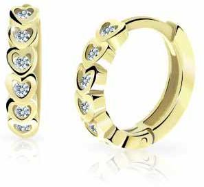 Cutie Jewellery Detské kruhové náušnice zo žltého zlata C3339-80-X-1 bílá