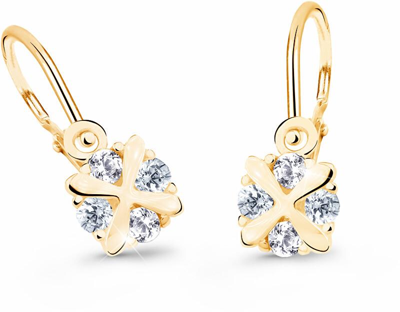 Cutie Jewellery Nežné detské náušnice zo žltého zlata C2753-10-X-1 bílá