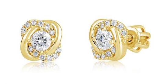 Cutie Jewellery Prekrásne kôstkové náušnice zo žltého zlata Z9001-3263-30-X-1 bílá