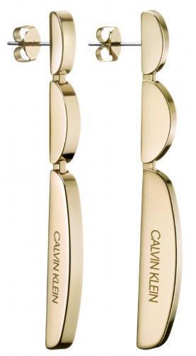 Calvin Klein Dlhé pozlátené náušnice z ocele Wavy KJAYJE100100