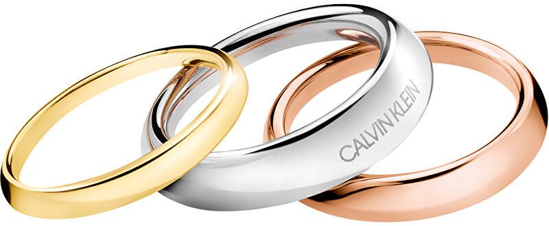 Calvin Klein Luxusná sada troch prsteňov Groovy KJ8QDR30010 52 mm