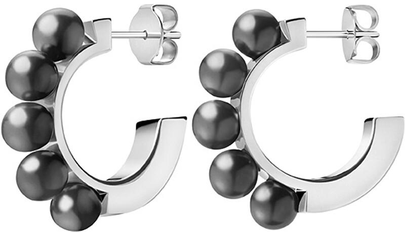 Calvin Klein Oceľové náušnice s čiernymi perličkami Circling KJAKME040100