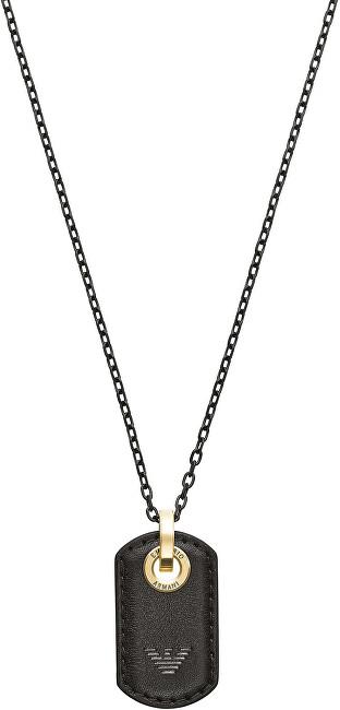Emporio Armani Dizajnový pánsky náhrdelník s koženým príveskom EGS2706710