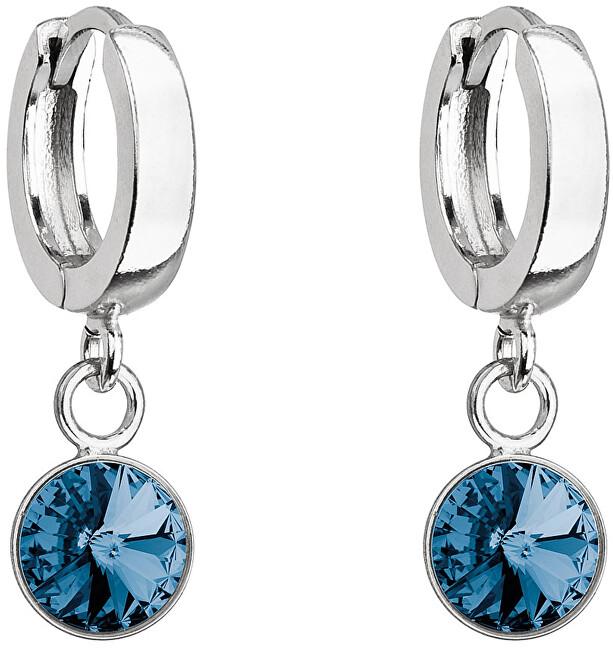 Evolution Group Krásné stříbrné náušnice s modrým krystalem Swarovski 31300.3