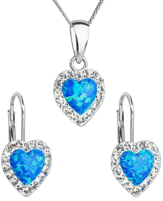 Evolution Group Srdiečková súprava šperkov 39161.1 & blue s.opal (náušnice, retiazka, prívesok)