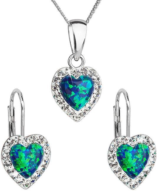 Evolution Group Srdiečková súprava šperkov 39161.1 & green s.opal (náušnice, retiazka, prívesok)