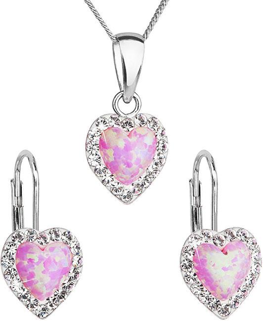 Evolution Group Srdiečková súprava šperkov 39161.1 & light rose s.opal (náušnice, retiazka, prívesok)