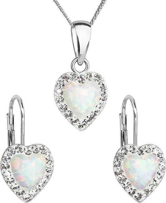 Evolution Group Srdiečková súprava šperkov 39161.1 & white s.opal (náušnice, retiazka, prívesok)