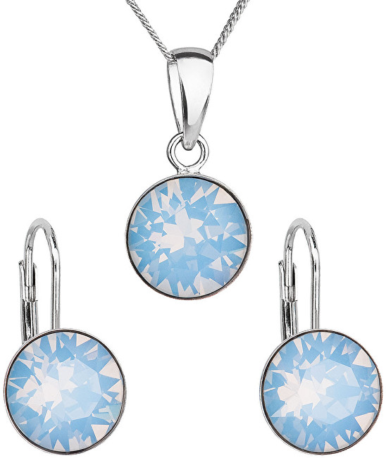 Evolution Group Strieborná súprava šperkov s kryštálmi Swarovski 39140.7 blue (náušnice, retiazka, prívesok)