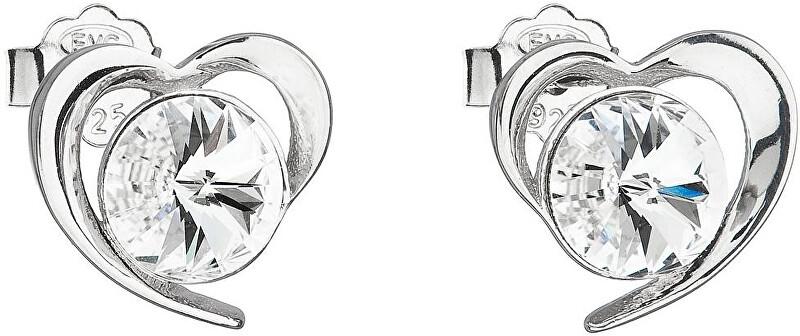 Evolution Group Strieborné náušnice s kryštálmi Swarovski biele srdce 31259.1