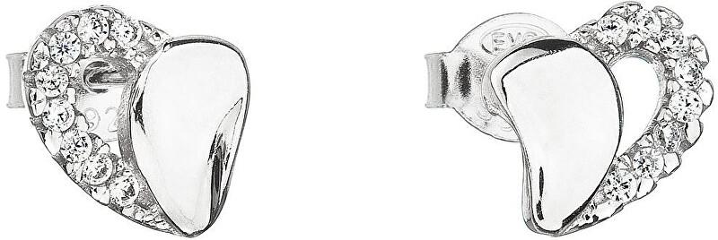 Evolution Group Strieborné náušnice 11020.1 biele srdce