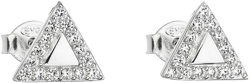 Evolution Group Strieborné náušnice biely trojuholník 11042.1