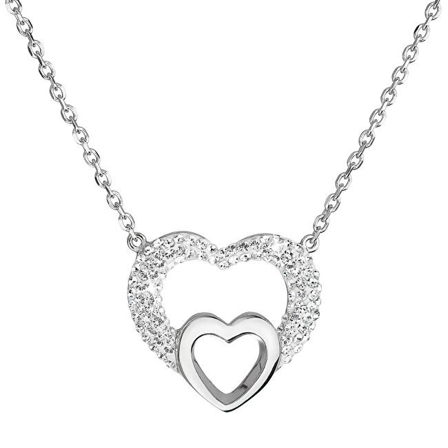 Evolution Group Strieborný náhrdelník srdce s kryštálmi Swarovski 32032.1