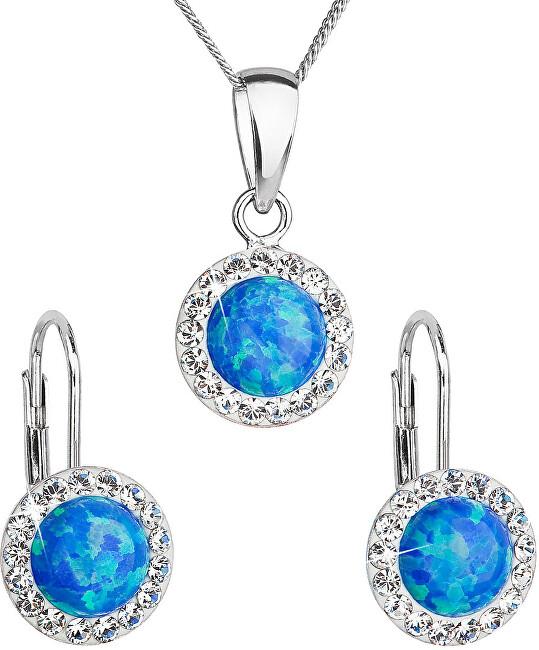 Evolution Group Trblietavá súprava šperkov 39160.1 & blue s.opal (náušnice, retiazka, prívesok)