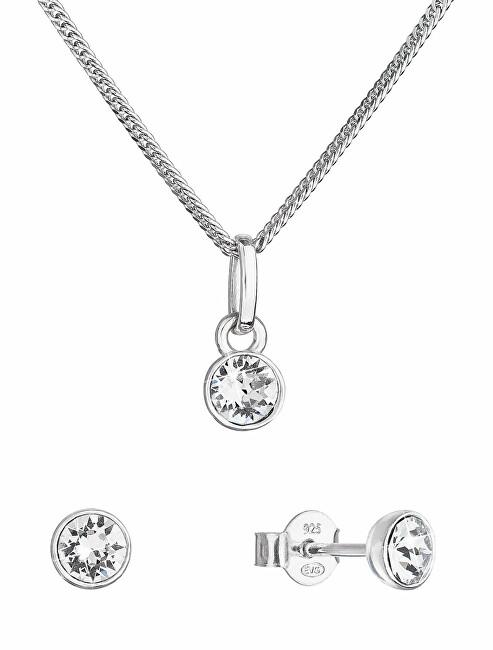 Evolution Group Trblietavá súprava šperkov s kryštálmi Swarovski 39177.1 (náušnice, retiazka, prívesok)