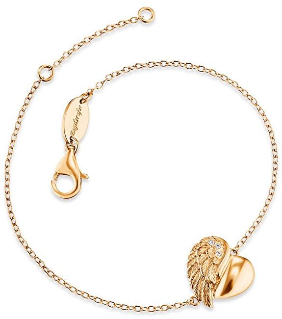 Engelsrufer Pozlacený stříbrný náramek Srdce s andělským křídlem a zirkony ERB-LILHW-G