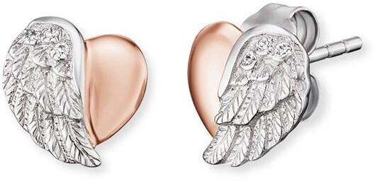 Engelsrufer Strieborné náušnice Srdce s anjelským krídlom a zirkónmi ERE-LILHEARTWBI