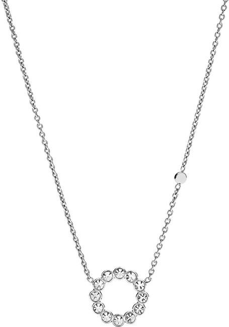Fossil Ocelový náhrdelník s čirými krystaly JF02800040