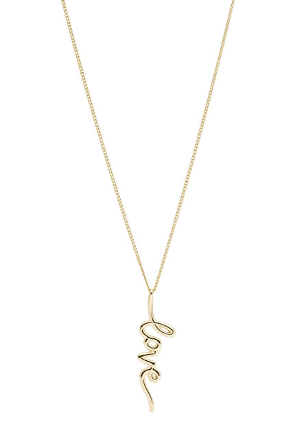 Fossil Pozlátený oceľový náhrdelník Love JF03343710