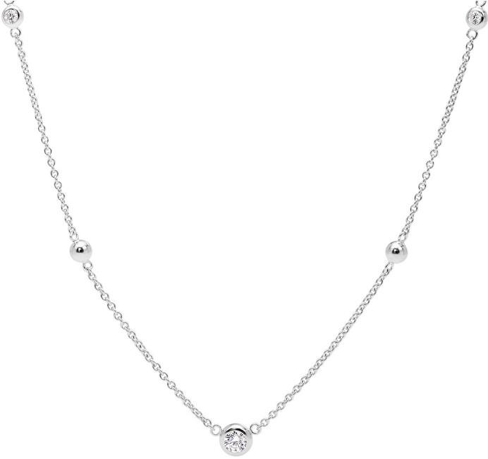 Fossil Strieborný náhrdelník s kryštálmi JFS00453040