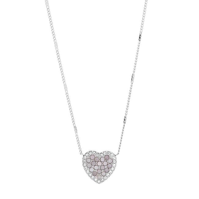 Fossil Trblietavý oceľový náhrdelník srdce JF03415040
