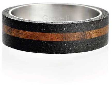 Gravelli Betónový prsteň antracitový Simple Wood GJRUWOA001 56 mm