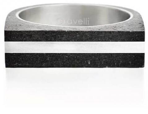 Gravelli Betónový prsteň antracitový Stamp Steel GJRUSSA004 56 mm